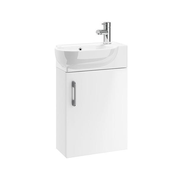 CASI 400MM 1 DOOR WALL UNIT WHITE WITH 450MM ZEN BASIN